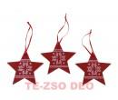 Karácsonyi Dísz Fa Csillag 3 db/csomag