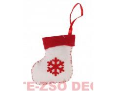 Karácsonyi Filc Csizma Akasztóval +Hópihe mintával