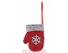 Karácsonyi Filc Kesztyű Akasztóval +Hópihe mintával